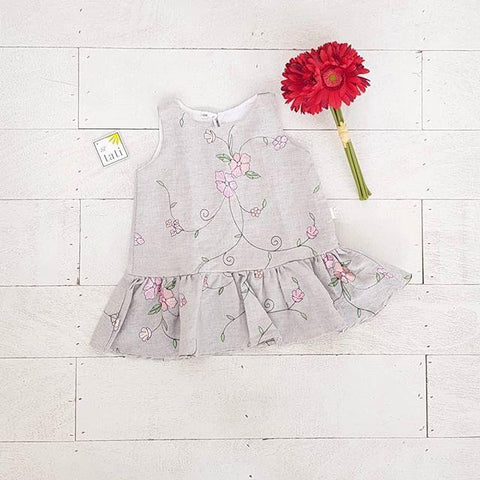 Holly Dress in Gray Linen Floral Embroidery Print-Lil' Tati