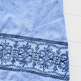 Hyacinth Dress in Blue Stripes Embroidery