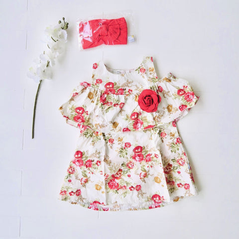 Hyacinth Dress in Red Flowers Print-Lil' Tati