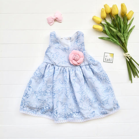 Iris Dress in Aerial Blue-Lil' Tati