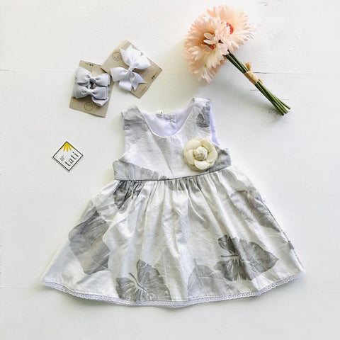 Iris Dress in Banana Leaves Gray-Lil' Tati