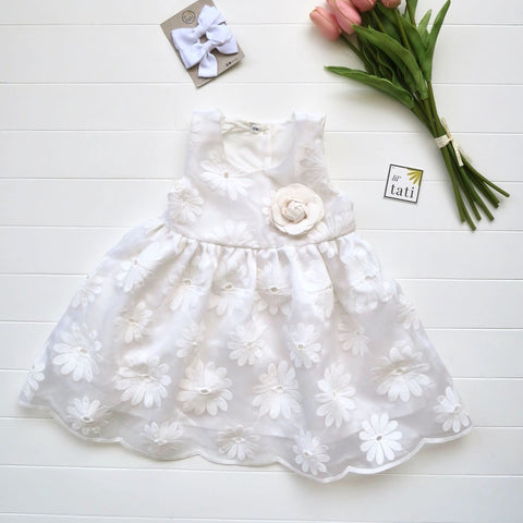Iris Dress in Daisy Embroidery-Lil' Tati