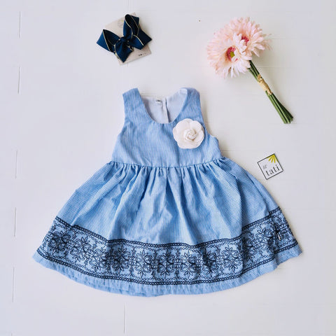 Iris Dress in Blue Stripes Embroidery-Lil' Tati