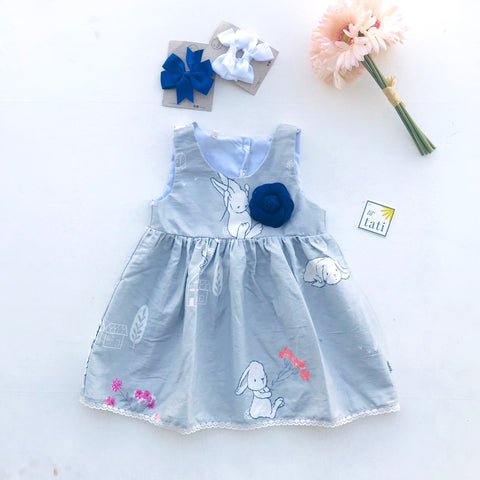 Iris Dress in Bunnies Gray-Lil' Tati
