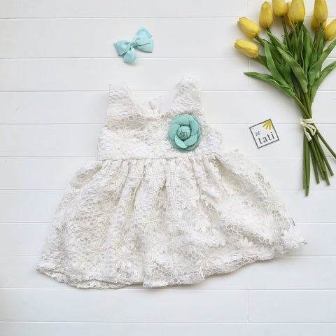 Iris Dress in Daisy Net White Lace-Lil' Tati