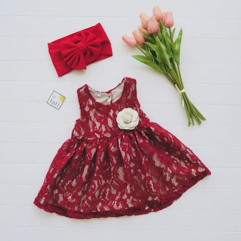 Iris Dress in Red Soft Lace-Lil' Tati
