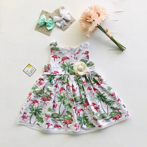 Iris Dress in Flamingo Island-Lil' Tati
