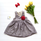 Iris Dress in Gray Embroidery-Lil' Tati