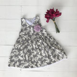 Iris Dress in Gray Butterfly - Lil' Tati