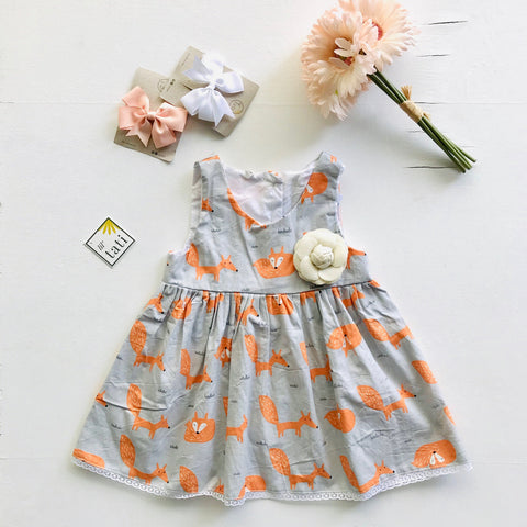 Iris Dress in Orange Gray Fox - Lil' Tati