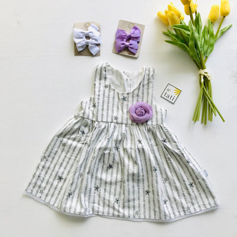 Iris Dress in Gray Star Stripes - Lil' Tati