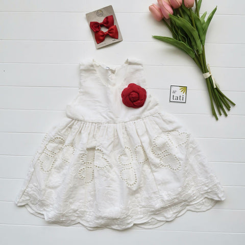 Iris Dress in Hearts Eyelet White-Lil' Tati
