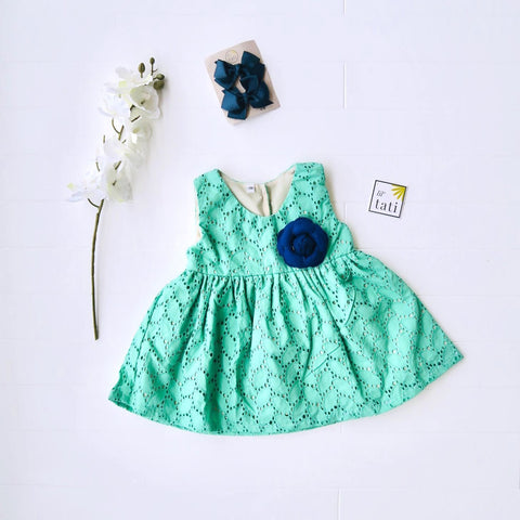 Iris Dress in Jade Leaves Eyelet-Lil' Tati