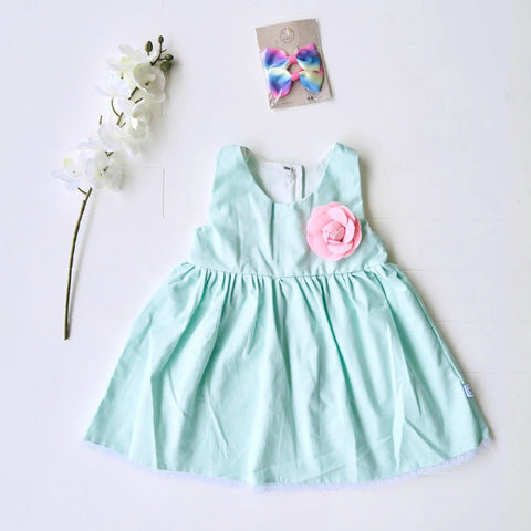 Iris Dress in Mint Linen-Lil' Tati