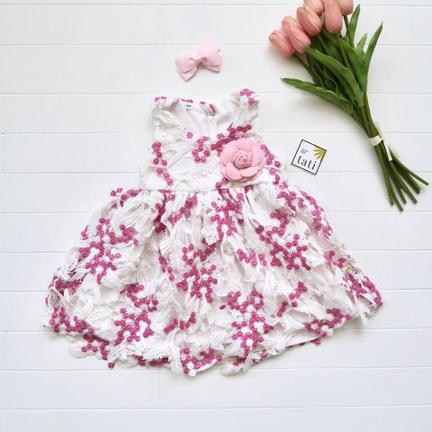 Iris Dress in Pink Blossom Cotton Lace-Lil' Tati