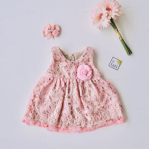 Iris Dress in Pink Cotton Lace-Lil' Tati