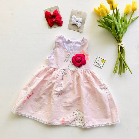 Iris Dress in Pink Bunnies-Lil' Tati