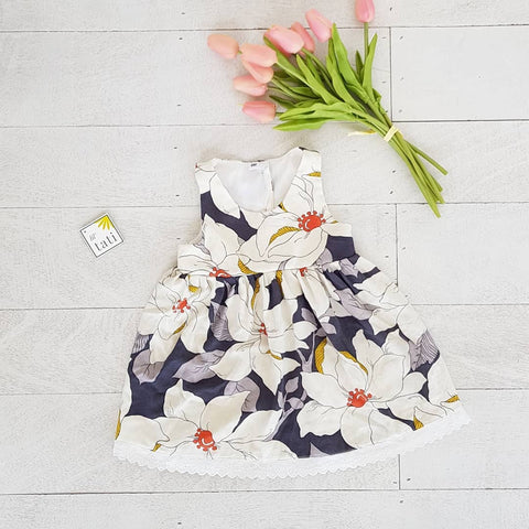 Iris Dress in Prime Flowers Print-Lil' Tati