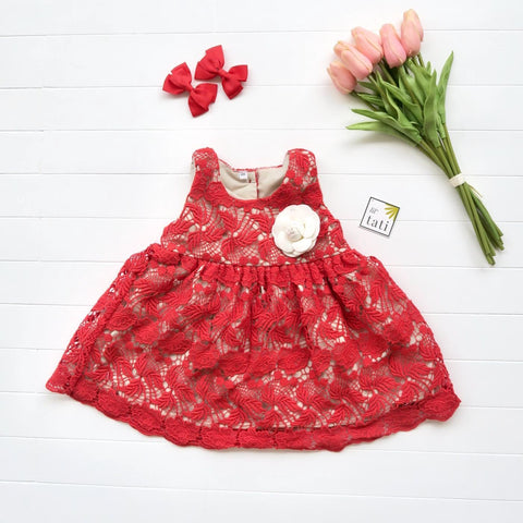 Iris Dress in Red Flower Cotton Lace - Lil' Tati