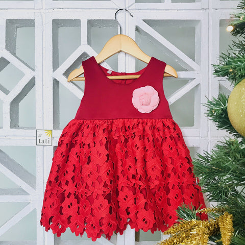 Iris Dress in Red Neoprene and Floral Lace-Lil' Tati