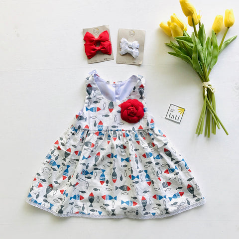 Iris Dress in School of Fish White-Lil' Tati