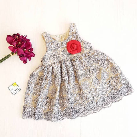Iris Dress in Silver Medallion Lace