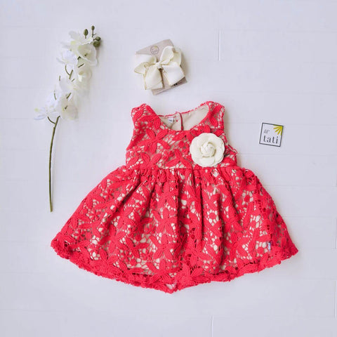 Iris Dress in Red Daisy Cotton Lace