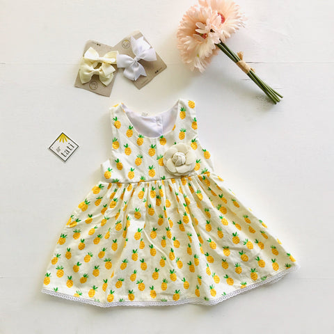 Iris Dress in Sweet Pineapple Print-Lil' Tati