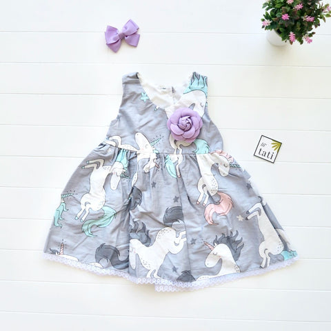 Iris Dress in Unicorn Gray Print-Lil' Tati
