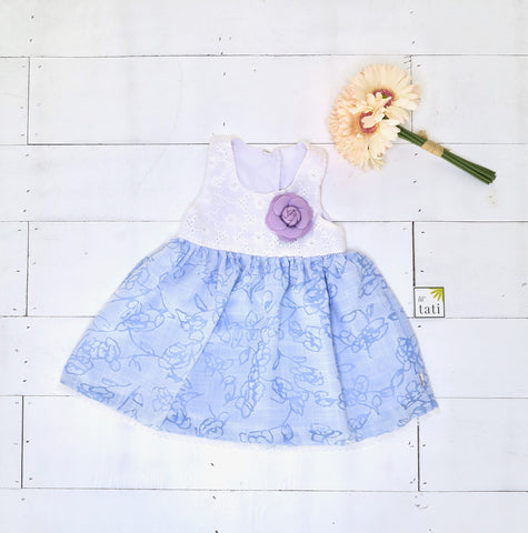 Iris Dress in White Eyelet and Aerial Blue