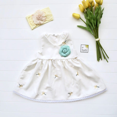 Iris Dress in White Floral Embroidery-Lil' Tati