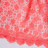 Iris Dress in White Neoprene and Coral Pink Lace-Lil' Tati