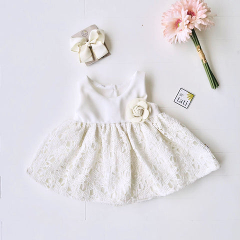 Iris Dress in White Neoprene and White Pearl Eyelet-Lil' Tati