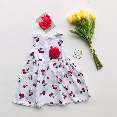 Iris Dress in White Cherries-Lil' Tati