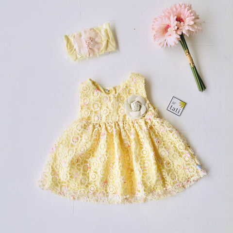 Iris Dress in Yellow Circlet Lace-Lil' Tati