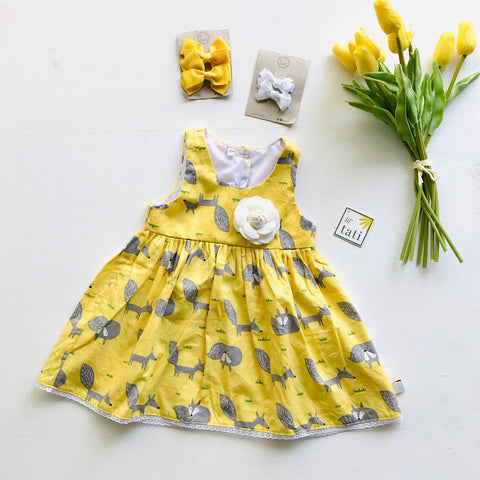 Iris Dress in Yellow Fox - Lil' Tati