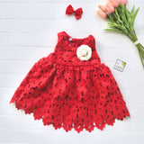 Iris Dress in Red Floral Eyelet-Lil' Tati