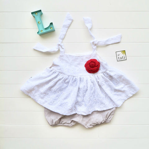 Jasmine Playsuit - Floral White Eyelet and Gray Linen-Lil' Tati