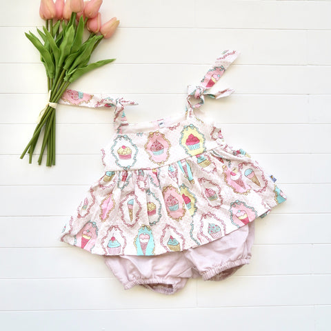 Jasmine Playsuit - Sweet Dessert & Old Rose Linen