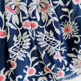 Lotus Dress in Elegant Embroidery Navy Tulle