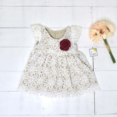 Lotus Dress in Nude White Pearl Eyelet