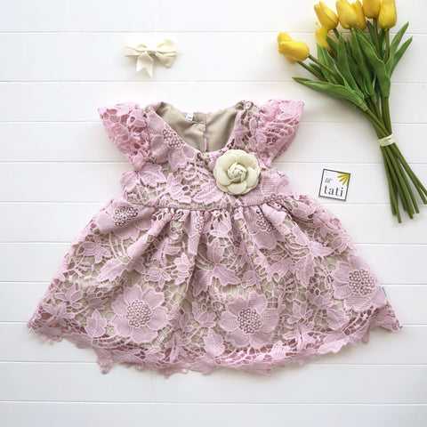 Lotus Dress in Pastel Pink Lace-Lil' Tati