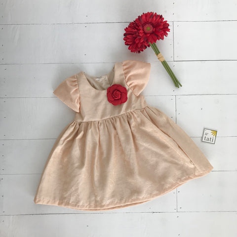 Lotus Dress in Peach Doodle-Lil' Tati