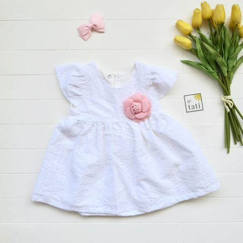 Lotus Dress in Suntan Petal White Eyelet-Lil' Tati