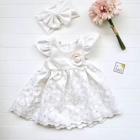 Lotus Dress in Shinny Flowers White-Lil' Tati