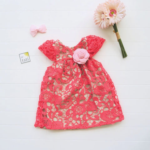 Magnolia Dress in Coral Pink Floral Lace-Lil' Tati