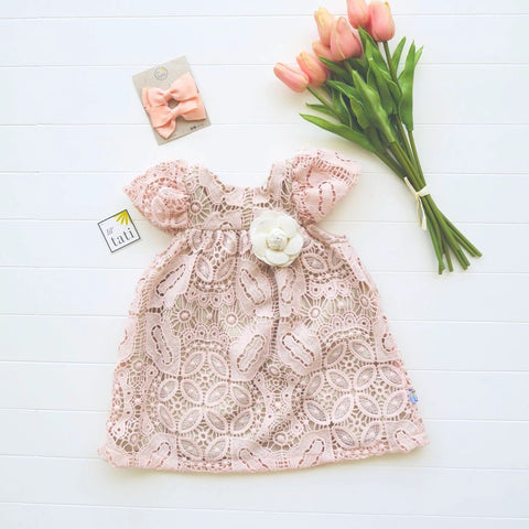 Magnolia Dress in Crepe Pink Floral Lace-Lil' Tati