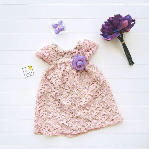Magnolia Dress in Pale Pink Paisley Lace-Lil' Tati