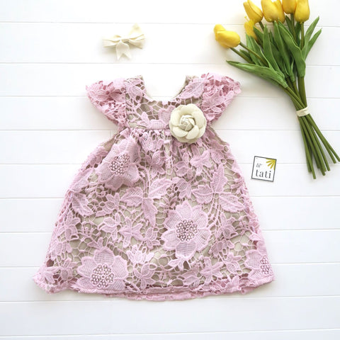 Magnolia Dress in Pastel Pink Eyelet-Lil' Tati