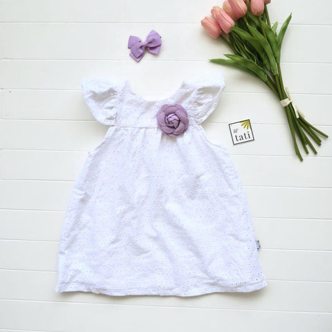 Magnolia Dress in Petal Dots White Eyelet-Lil' Tati